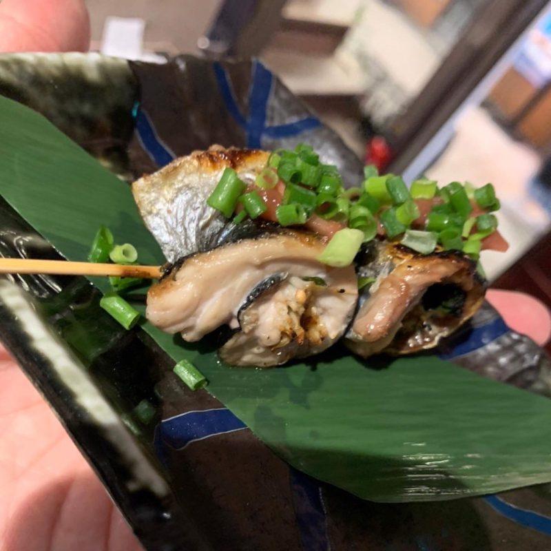 ポロ吉おすすめ【秋刀魚えのき串焼〜香味梅肉〜】